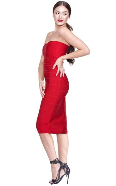 red strapless midi bandage dress - side view on model