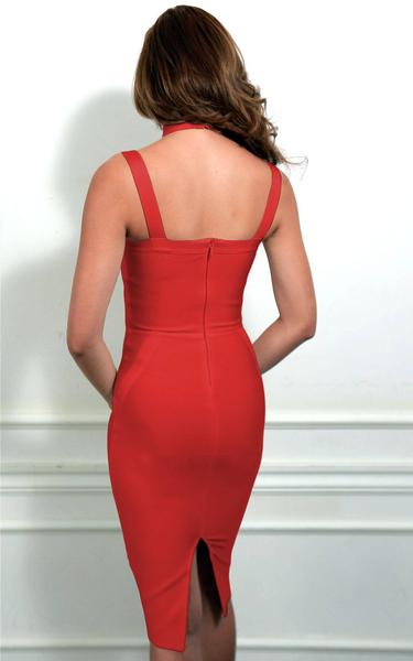 red choker bandage dress - back view on model