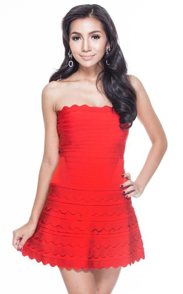 red a-line cocktail bandage dress - front view on model