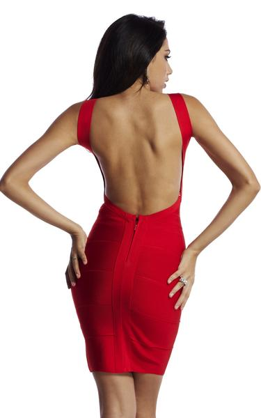 hot red backless dress - back view on model