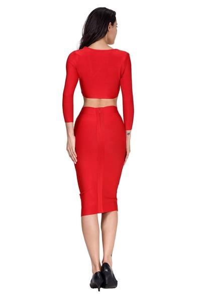 red two piece long sleeve bandage dress - back view on model