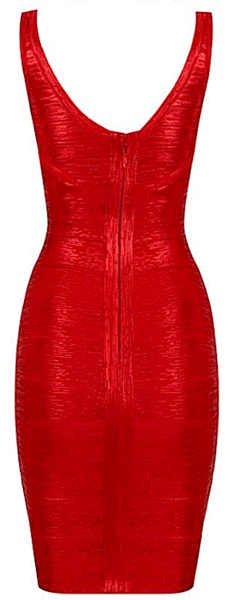 red metallic bandage dress - back detail