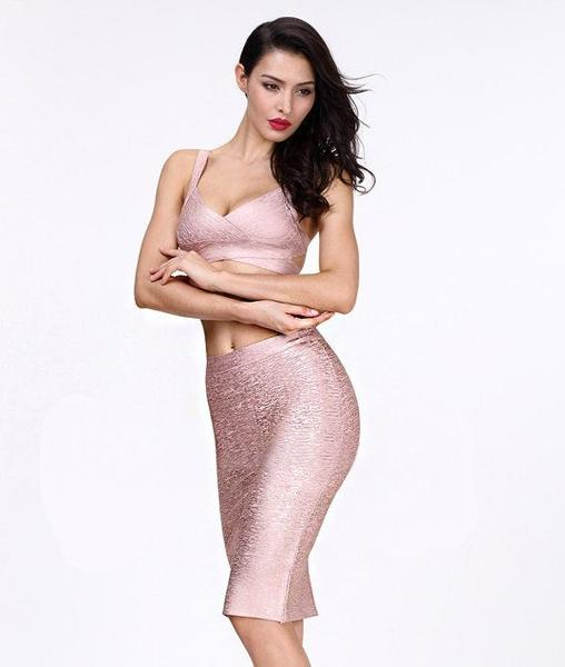 rose gold two piece bandage dress - front view on model