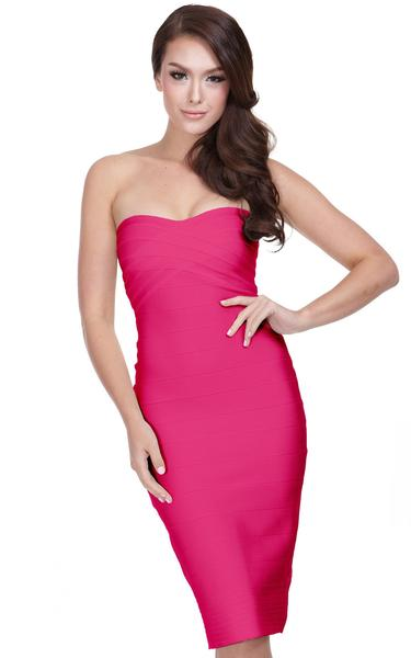 fuchsia strapless bandage dress - front view on model