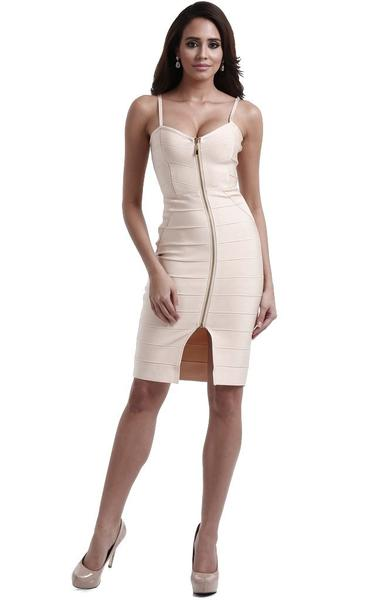 full front zip bandage dress - front view on model