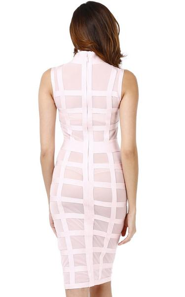 see through mesh midi dress - back view on model