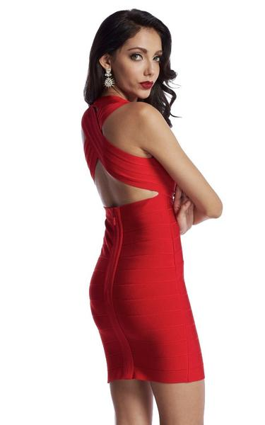 red criss cross back dress - side view on model
