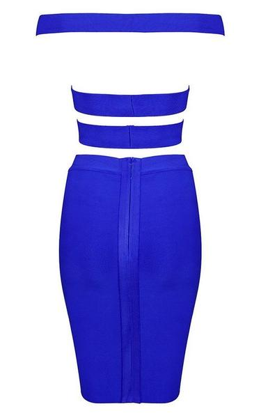 strappy blue two piece bandage dress - back view