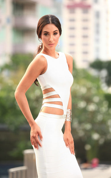 white long bandage dress