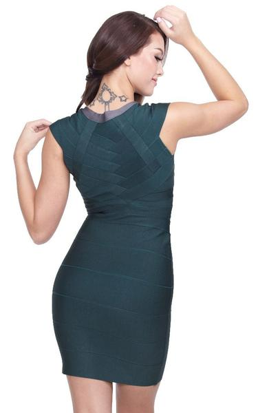 green front zip bandage dress - back view on model