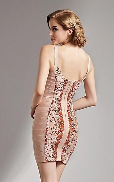 European styles bandage dress - back view on model