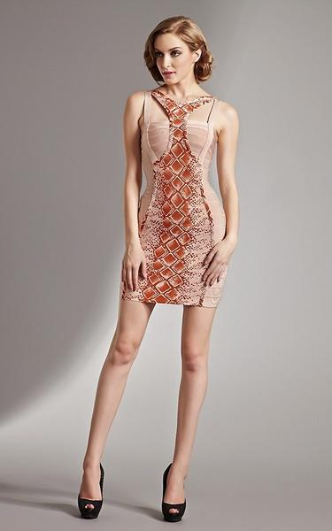 European styles bandage dress - front view on model