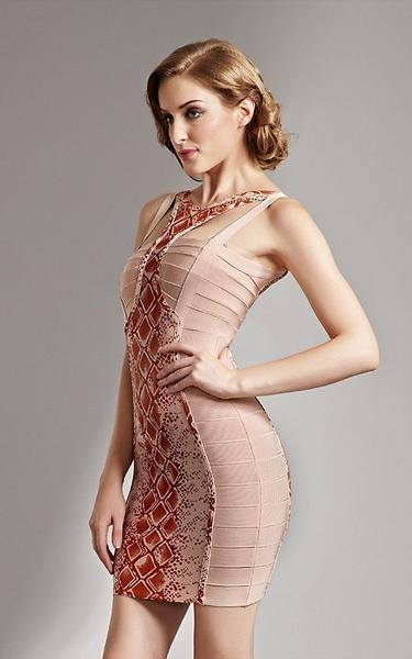 European styles bandage dress - side view on model