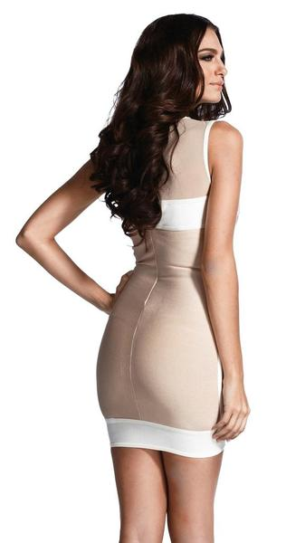 beige o-neck bandage dress - back view on model