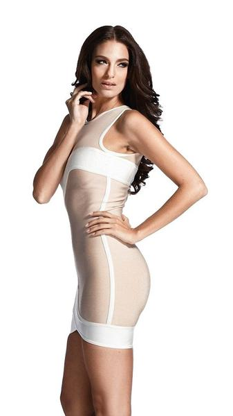 beige o-neck bandage dress - side view on model