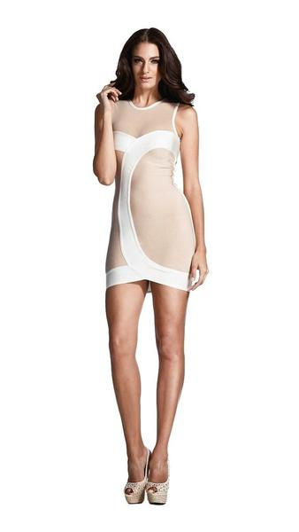 beige o-neck bandage dress - front view on model