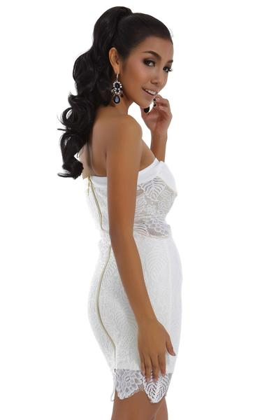 white lace bandage dress - right side view on model