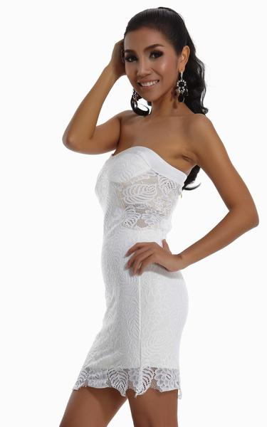 white lace bandage dress - left side view on model