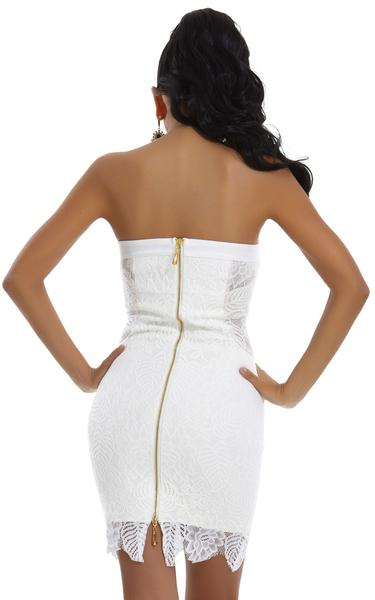 white lace bandage dress - back view on model