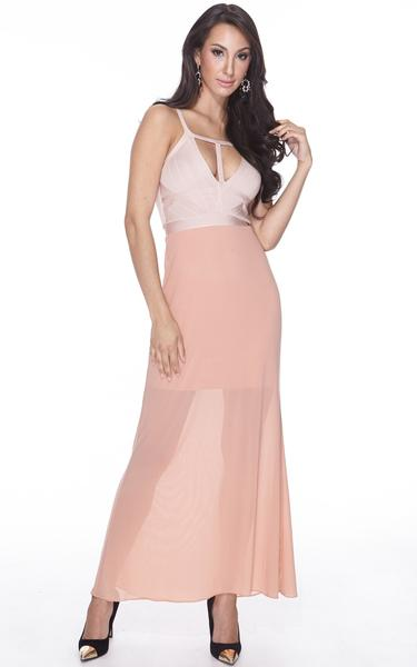 nude sheer maxi dress - front view on model
