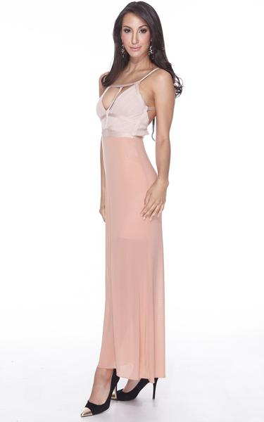 nude sheer maxi dress - front view on model (2)