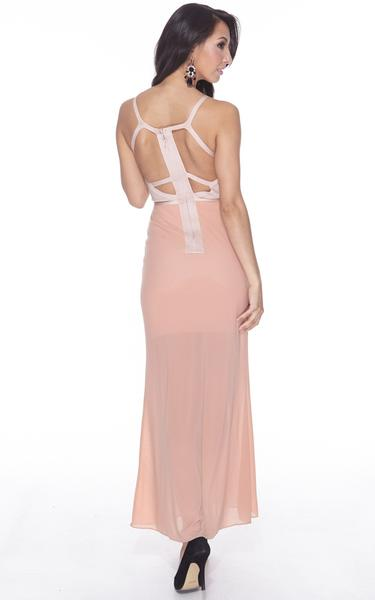 nude sheer maxi bandage dress - back view on model