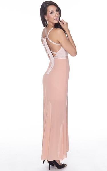 nude sheer maxi bandage dress - side view on model