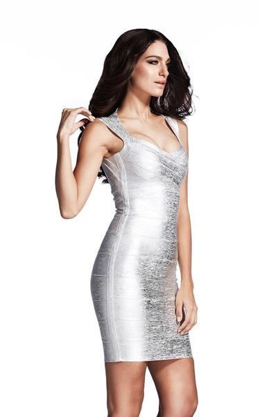 silver metallic bandage dress - side view on model