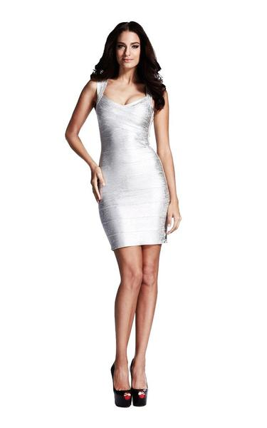 silver bandage dress on model