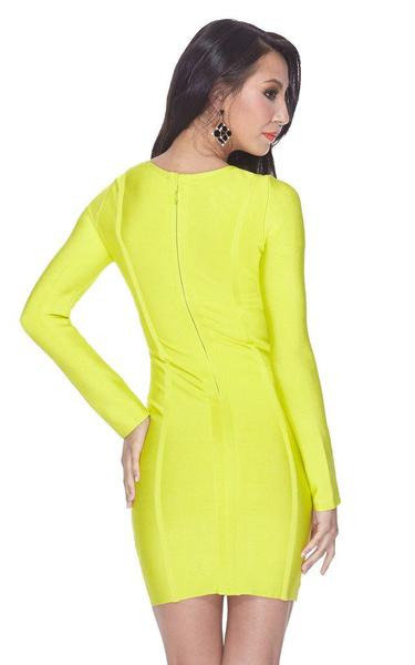 neon yellow bandage dress - back view on model