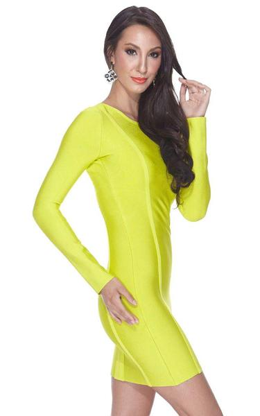 neon yellow bandage dress - side view on model