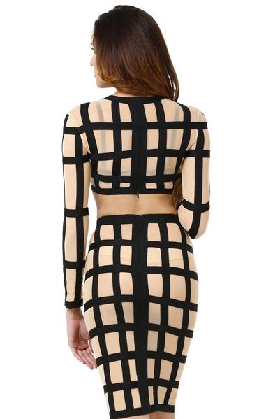see through bandage dress - back view on model