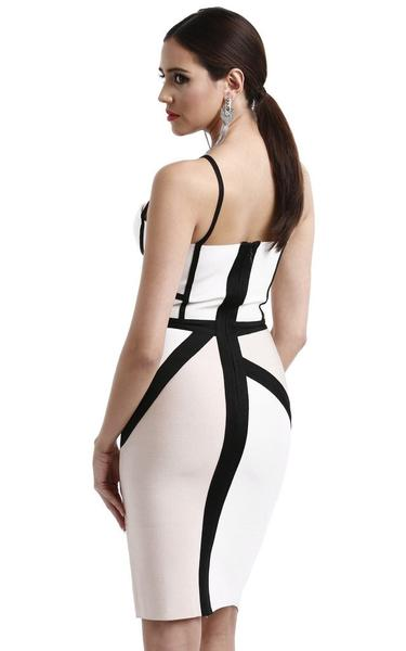 beige two-tone bandage dress - back view on model