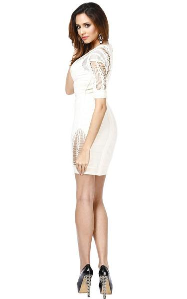 cut out sides bandage dress - side view on model