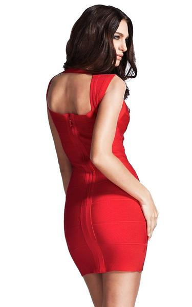 sexy red bandage dress - back view on model