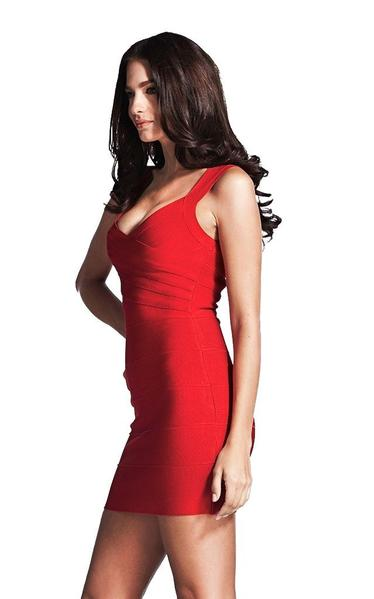 sexy red bandage dress - side view on model