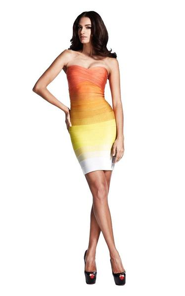strapless ombre bandage dress - full length on model