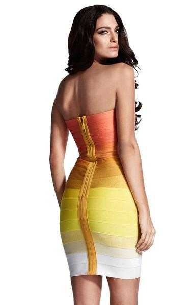 strapless ombre bandage dress - back view on model