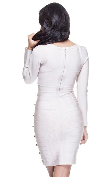 long sleeve studded bandage dress - back view on model