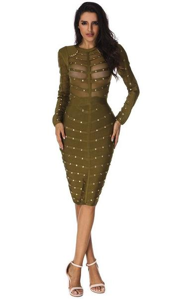 olive green see through bodycon dress - on model