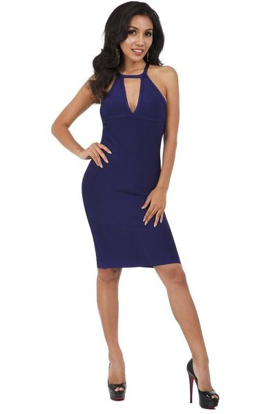 blue backless bandage dress - front view on model