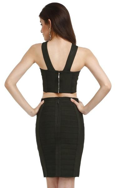 green metal two piece bandage dress - back view on model