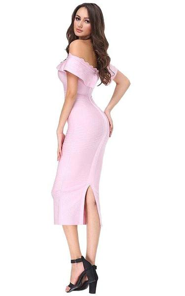 light pink off shoulder midi - side view on model