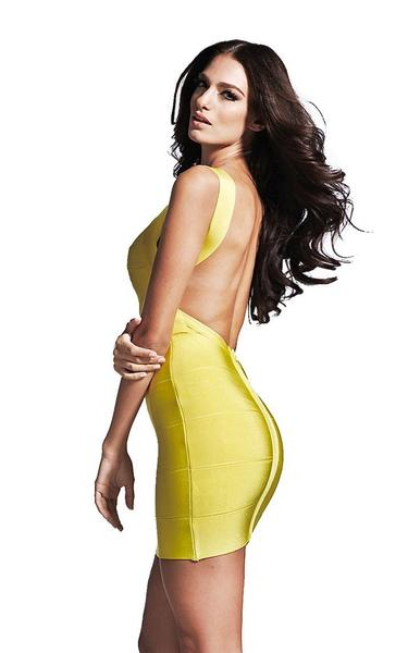 yellow bandage dress - side view on model