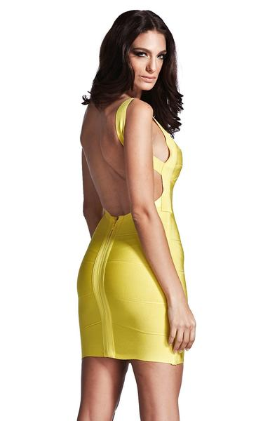 yellow bandage dress - back view on model