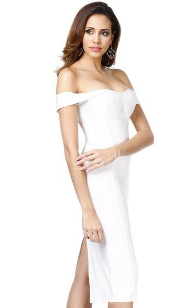 off shoulder midi bandage dress white - side view on model