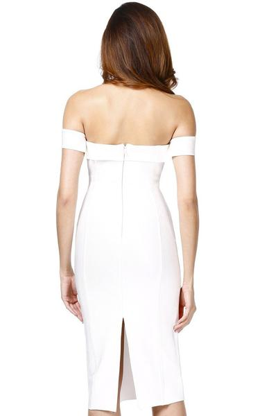 white off shoulder midi bandage dress - back view on model