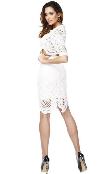 white lace two piece bandage dress - side view on model
