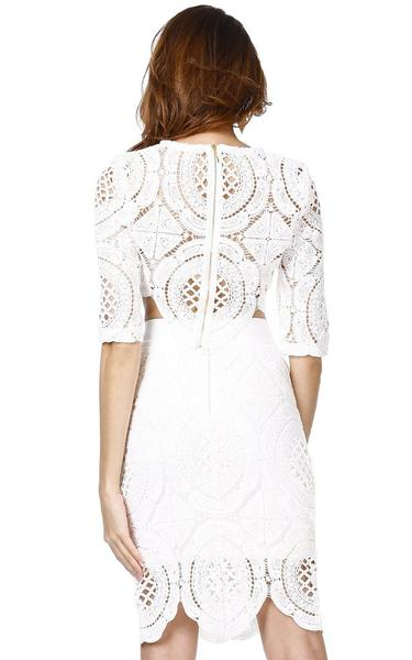 white lace two piece bandage dress - back view on model