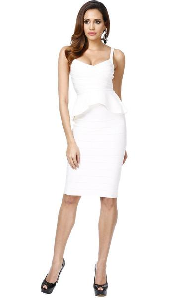 peplum bandage dress - front view on model